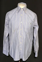 Lacoste Men's Casual Shirt Blue Striped Size 41 Large 100% Cotton Marks