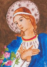 """ACEO-ORIGINAL PAINTING """"MARY MOTHER OF DIVINE MERCY"""" BY ME THE ARTIST LB"""