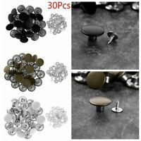 30 Jeans Button Replacement No Sewing Metal Tack Snap Fastener Suspender w/Rivet
