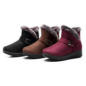 Damen Winter Wasserdicht Schneeschuhe Stiefel Stiefeletten Flache Boots Warm