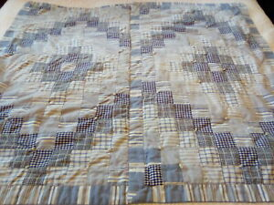 Baby Crib Lap Handmade Quilt Blue Gray White Chambray Cotton Patchwork & Tied