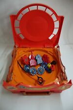 Beyblade Metal Fusion Lot Red Stadium Arena (Retired), 4 Spinners and Launchers