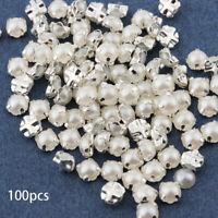 White Silver Claw Crystal Sew On Rhinestones Flatback Rhinestones Pearl Beads