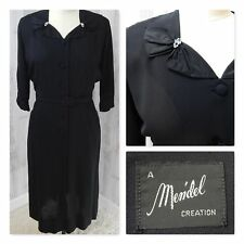 1950 TRUE VINTAGE Dress~BLACK SHEATH RHINESTONES PINUP BUTTON UP L 45x32x42