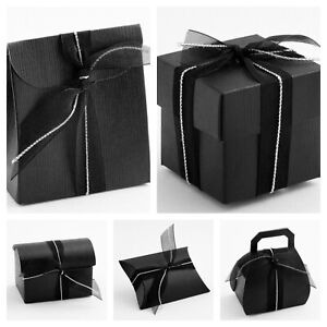 Black Silk Wedding Party Favour Gift Boxes for Sweets, Wax Melts - Box Only