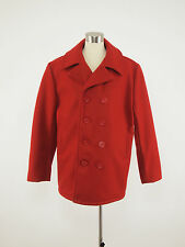 SCHOTT Vintage 740N Red Melton Wool Naval Pea Coat Jacket Mens 42