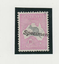 Kangaroo stamp Australia 10/- grey/pink 1st watermark SPECIMEN variety on angle