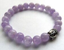 * magnifique lavande améthyste perle bracelet avec argent bouddha-guérison/reiki *