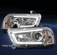 2011-2014 DODGE CHARGER DRL LED BAR PROJECTOR HEADLIGHTS LAMPS CHROME 2012 2013