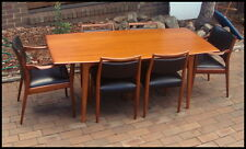 Vintage Mid Century Danish TH Brown Dining Teak Table + x6 Chairs 2 Carvers