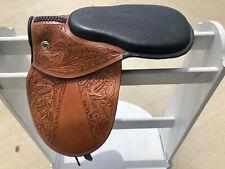 Fancy Black Seat / Tan Leather Racing Exercise Saddle Horse Tack