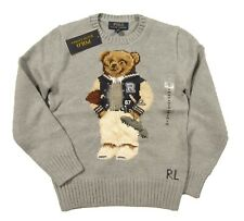 Polo Ralph Lauren Boys Grey Heather Polo Bear Graphic Crew-Neck Pullover Sweater