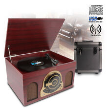 "Retro Record Player Turntable, CD USB RADIO Speakers & 80 x 12"" LP Storage Box"