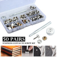 50 Pairs Boat Marine Cover Canvas Canopy Snap Fastener Socket Screw Kit