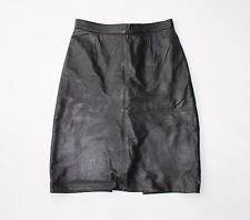 "Vintage Black Leather High Waist Office Pencil Knee Length Skirt Size W25"" L21"""