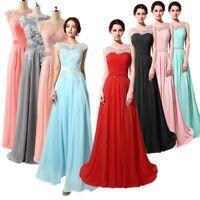 Ladies' Long Chiffon Dress Bridesmaid Prom Dance Party Evening Wedding Ball Gown
