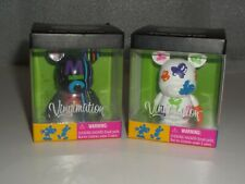 """2 Mickey Mouse Vinylmation 3"""" Figures Black And White with Multi Color Stripes F"""