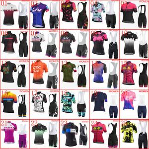 New Women 2021 Cycling Jersey Set Team Bike Shirt Bib Shorts Kit Bicycle Outfits