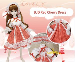 1/3SD BJD Outfit Doll Lolita Clothes Polka Dots Red Cherry Dress+Headwear AOD AS