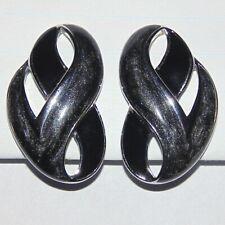 Vintage signed Trifari TM gray black enamel silver tone swirl clip earrings
