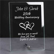 Personalised Engraved Wedding Anniversary Glass Plaque - Anniversary Gift