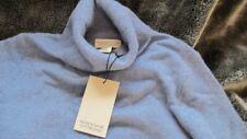 "luxury 100% cashmere Adrienne Vittadini polo neck JUMPER soft blue L 38"" bnwt"