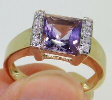 9CT PRINCESS AMETHYST DIAMOND RING 9 CARAT YELLOW GOLD SINGLE STONE RING O 1/2