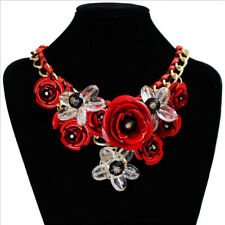Women Crystal Flower Statement Bib Chunky Necklace Chic Chain Collar Jewelry Set