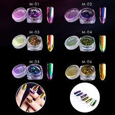New listing 6 Pot Nail Art Chameleon Powder Chrome Pigment Magic Mirror Effect Chrome Powder