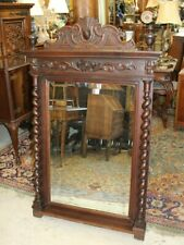 French Antique Carved Oak Renaissance Louis XIII Beveled Mirror