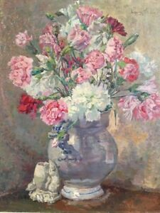 Carnations, Bouquet of Flowers, Floral Oil Painting, Signed  C.1940s