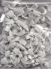 50 SILVER SATIN BOWS (RIBBON 20 mm WIDE) IDEAL ALL GENERAL CRAFTS & CARD MAKING