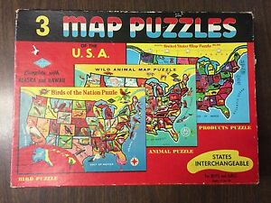 BUILT RITE Box of the Map Puzzles - Interchangeable - US States, Birds, Animals