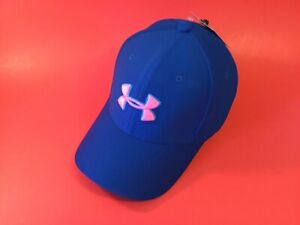 New UNDER ARMOUR UA Classic Fit Youth Boys Snapback Hat Sz XS/S Blue w/Pink