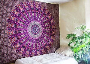 Indian Tapestry Hippie Wall Hanging Bohemian Dorm Decor Bedspread Mandala Mirchi