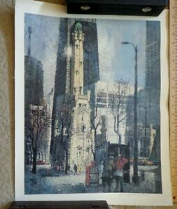 Alex Yaworski Poster of Chicago SIGNED Lithograph 17 x 22 inches
