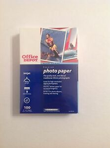"Office Depot High Gloss Premium Printer Photo Paper 4"" x 6"" 100 Sheets Brand New"