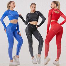 Women 2pcs Yoga Set Fitness Gym Sport Suits Long Sleeve Crop Top Leggings Pants