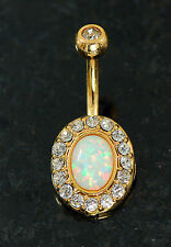 1 Pc 14K Gold Plated White Fire Opal Stone CZ Navel Belly Button Ring 14G