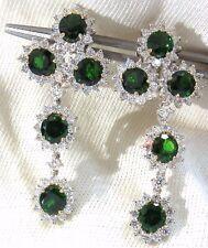 9.20ct natural vivid green tsavorite 4.18ct diamond dangle earrings 18kt +
