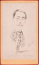 Photo carte de visite : Un homme caricaturé , légende en espagnol , vers 1880