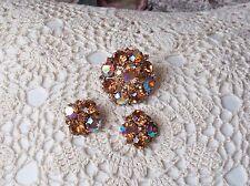 WEISS Amber & AB Rhinestone Pin & Earring Set