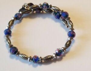Stunning Alex and Ani Vintage 66  Blue Glass Bead & Silver Wrap Bracelet 🎆❄🎆