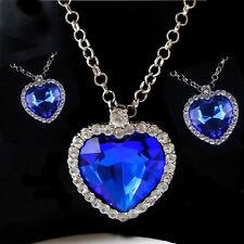 Women Crysatl Heart of the Ocean Sapphire Pendant Necklace Elagant Jewelry Party