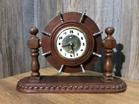 Vintage Lanshire Clock Set In Wooden Ships Wheel Theme Converted To Battery J5