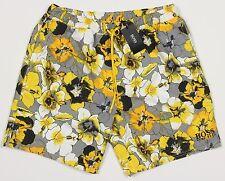 Men's HUGO BOSS Black Yellow Gray Floral Swim Trunks Swimsuit Small S NWT NEW