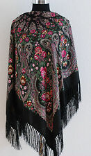 Large colourful Russian culture style folk shawl scarf spring collection 2017