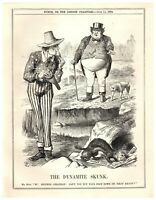 1884 UK Complains to Uncle Sam Fenian Bombing Campaign Dynamite Punch Cartoon