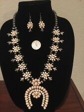 Estate find SQUASH BLOSSOM Necklace- & Earring - SET, Rare!