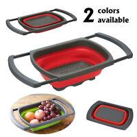 Home Kitchen Fruit Vegetable Folding Draining Basket Wash Strainer Collapsible